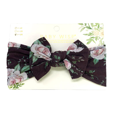 Infant Headwrap Nylon Bow Floral Headband - Stormy