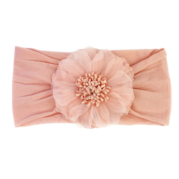 Evelyn Flower Nylon Headwrap - Baby Wisp