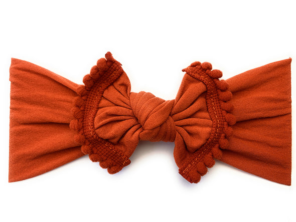 Infant Headwrap - Mini Trim Pom Pom Bow - Pumpkin Spice - Baby Wisp
