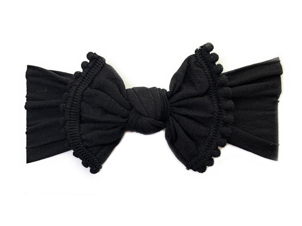 Infant Headwrap - Mini Trim Pom Pom Bow - Black - Baby Wisp