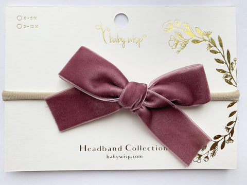 Velvet Bow - Baby and Toddler Headband (1 inch Ribbon)