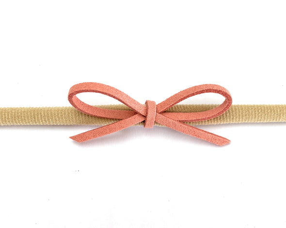 Faux Suede Cord Rope Bow - Single Dainty Baby Headband - Baby Wisp