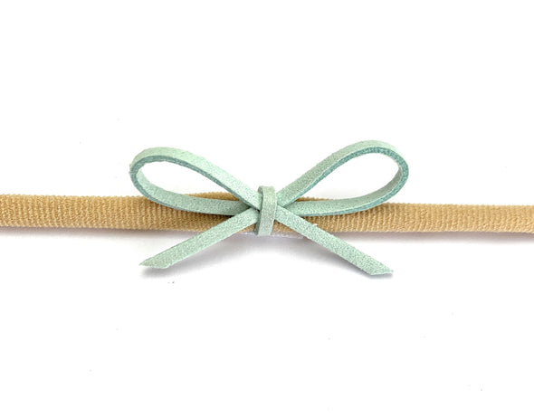 3 Faux Suede Cord Rope Bows - Baby Headbands - Mint Peach Sets - Baby Wisp