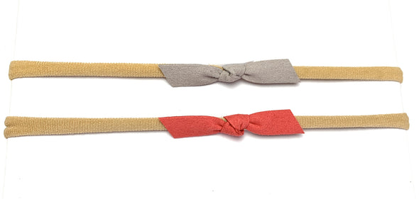 2 Baby Headbands Faux Suede Tie Knot - Bow Set - Baby Wisp