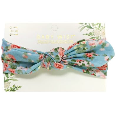 Top Knot Baby Headband - Light Blue Floral Pattern - Baby Wisp
