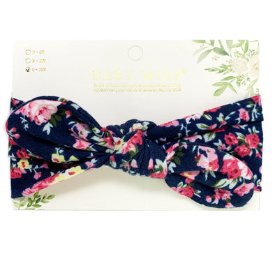 Top Knot Baby Headband - Navy Blue Floral Pattern - Baby Wisp