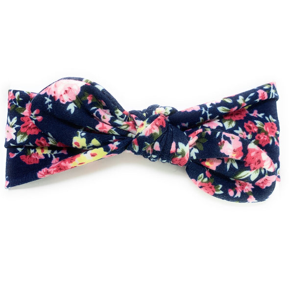 Top Knot Baby Headband - Navy Blue Floral Pattern