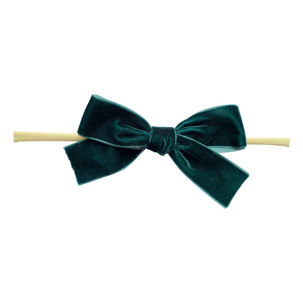 Green Velvet Bow - Baby and Toddler Headband (1 inch Ribbon) - Baby Wisp