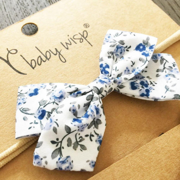 Infant Fabric Bow Headband - Vintage Floral - Blue - Baby Wisp