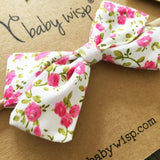 Infant Fabric Bow Headband - Vintage Floral - Pink - Baby Wisp