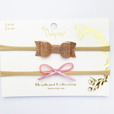 2 Mixed Baby Bows Baby Headband Gift Set - Gold, Pink - Baby Wisp