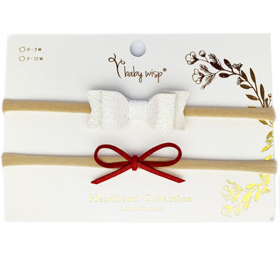2 Soft Baby Bow Headbands - Christmas Inspired Bow Gift Sets - Baby Wisp