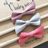 3 Faux Suede Angled Bows - Infant Headband Gift Set - Baby Wisp