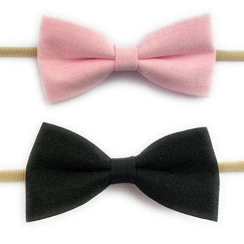 2 Baby Headbands - Nylon Elastic Fabric Tuxedo Bows- Pink and Black Bow Gift Set - Baby Wisp
