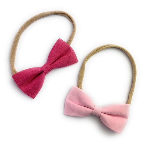 2 Baby Headbands - Nylon Elastic Fabric Tuxedo Bows- Pink Bows - Baby Wisp