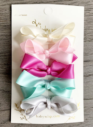 5 Satin Boutique Hair Bows - Aurora Borealis