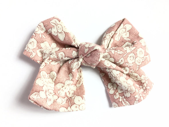 Giant Vintage Floral Sailor Bow Pinch Clip - Dusty Rose - Baby Wisp