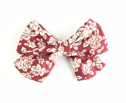 Giant Vintage Floral Sailor Bow Pinch Clip- Cinnamon - Baby Wisp
