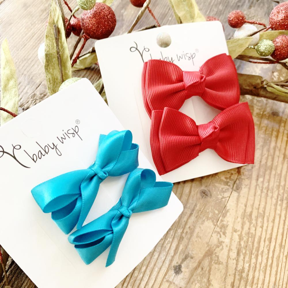 Red and Teal Bows - 4 piece hair bow snap clip gift set - Baby Wisp