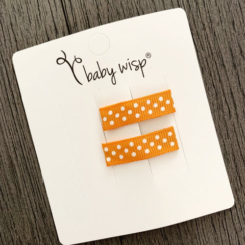 Orange Polka Dot Ribbon Clips - 2 pack - Baby Wisp