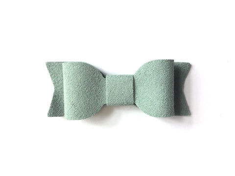Mini Latch Clip - Faux Suede Mia Hair Bow - Baby Wisp