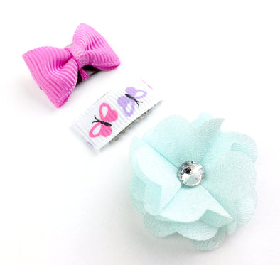 Mini Wisp Clip Summer Bow and Flower Set - Floral Garden - Baby Wisp