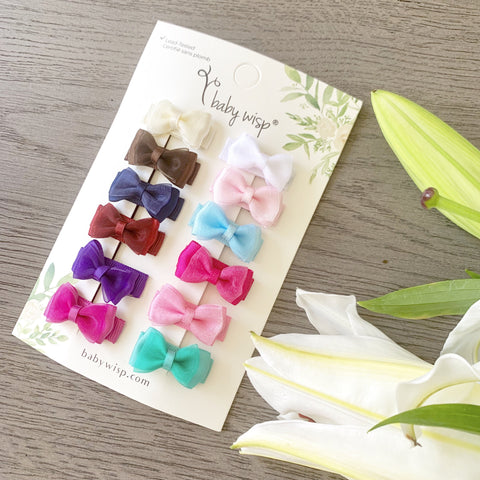 12 Tiny Fancy Bows Snap Clip Collection - Baby Wisp