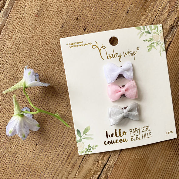 Pretty Baby Bows - 3 Fancy Bow Wisp Clip Gift Sets - Baby Wisp