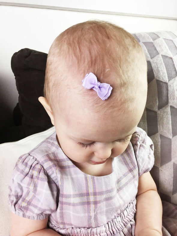 Small Snap Fancy Hair Bows - Pink Haze - Baby Wisp
