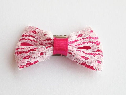 Mini Latch Vintage Lace Bow - Baby Wisp - fuschia-and-white