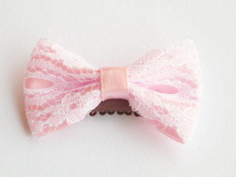 Mini Latch Vintage Lace Bow - Baby Wisp - light-pink-and-white