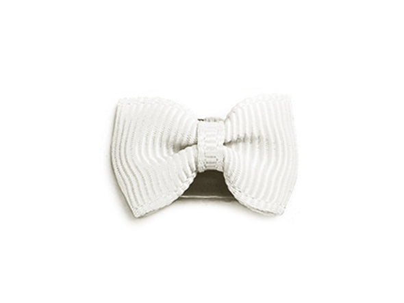 Mini Latch Tuxedo Grosgrain Bow - White - Baby Wisp