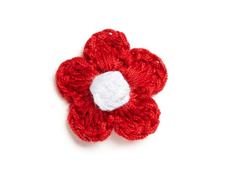 Christmas Crocheted flower clip for babies fine hair