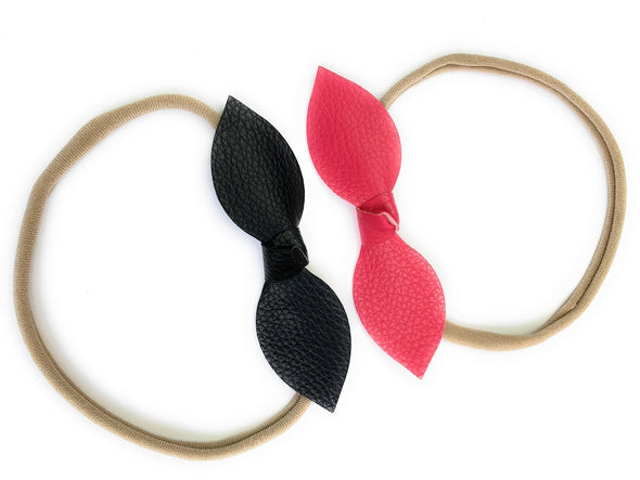 Faux Leather Knot Bow Headbands - Black and Dark Pink - Baby Wisp