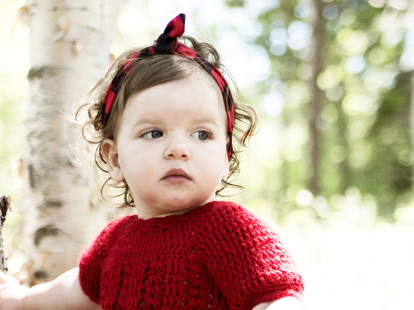 Top Knot Grey & Coral Geometric Patterned Baby Headband - Baby Wisp