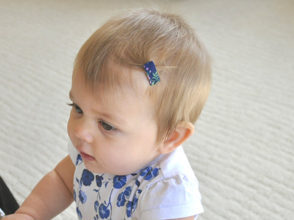 Mini Latch Wisp 5 Clips - Handwrapped Floral Ribbon - Baby Wisp