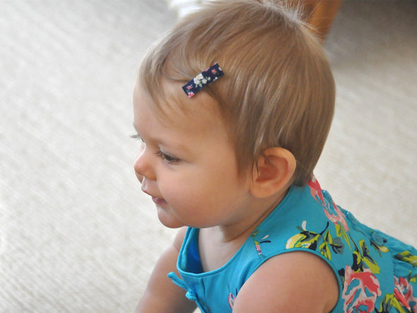 Handmade - Small Snap Urban Clip - Lavender Floral - Baby Wisp