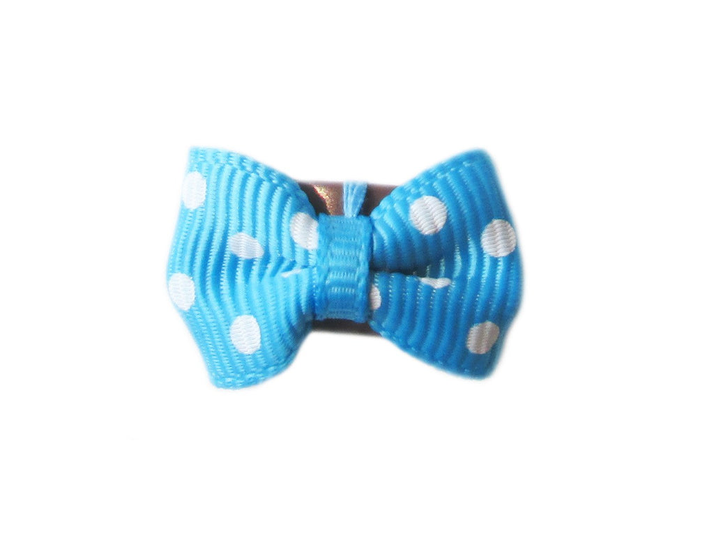 Mini Latch Tuxedo Grosgrain Bow - Blue Polka Dots - Baby Wisp