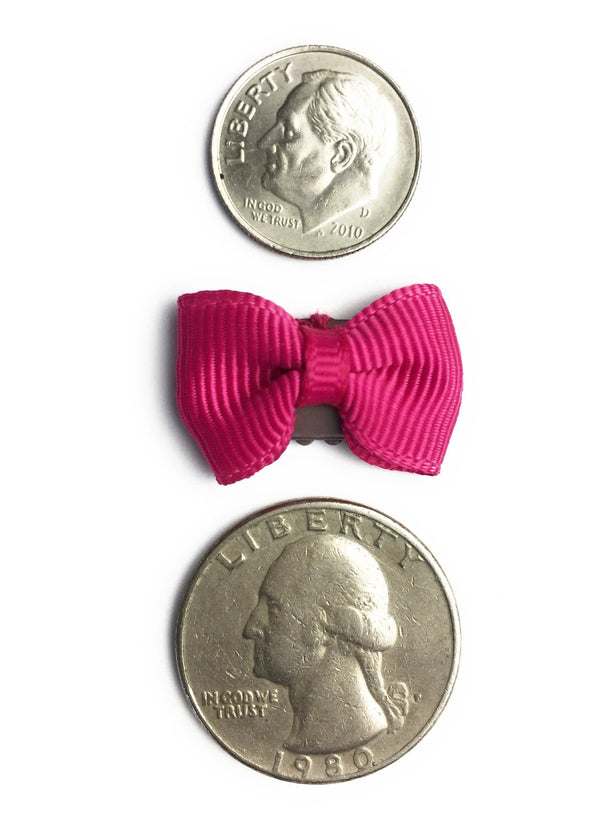 Mini Latch Tuxedo Grosgrain Bow - Maroon - Baby Wisp