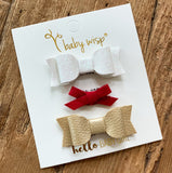 3 Mini Latch Wisp Clip Bows Gift Set - Holiday Party - Baby Wisp