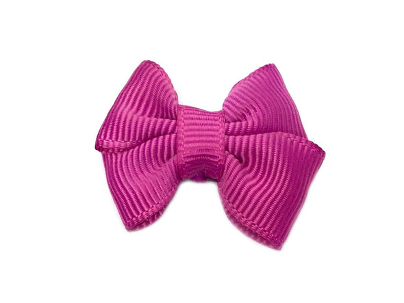 Mini Latch Butterfly Grosgrain Bow - Magenta Garden Rose - Baby Wisp