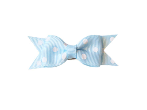 Mini Latch Cadeau Hair Bow - Polka Dots - Baby Wisp - cinderella-blue