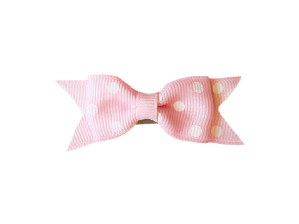 Mini Latch Cadeau Hair Bow - Polka Dots - Light Pink - Baby Wisp