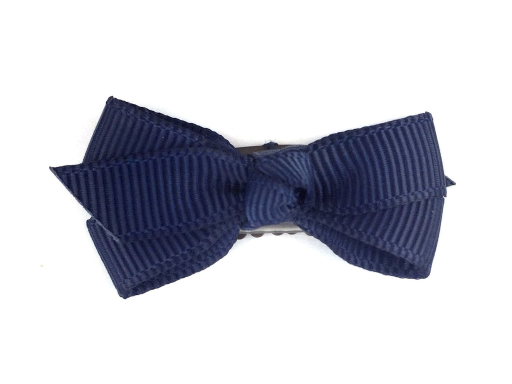Mini Latch Wisp Clip - Chelsea Boutique Bow - Navy - Baby Wisp