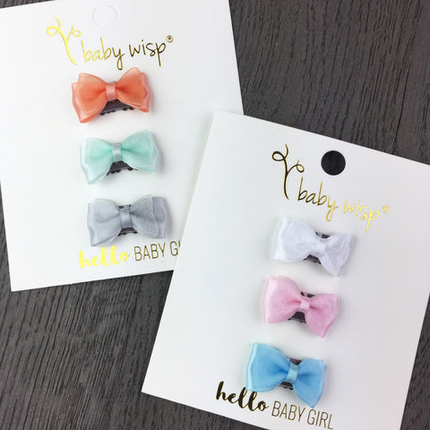 3 Mini Latch Wisp Clips - Easter Bows Gift Set - Baby Wisp