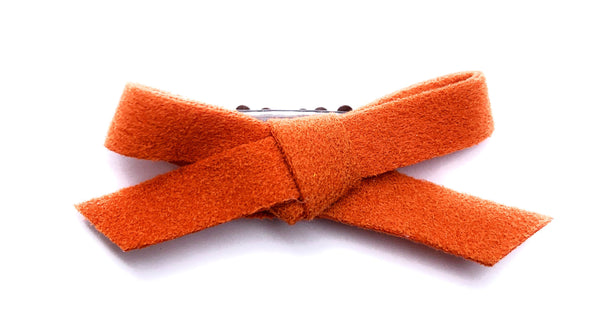 Mini Wisp Clip - Hand Tied Faux Suede Bow - Orange - Baby Wisp
