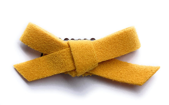 Mini Latch Wisp Clip - Hand Tied Faux Suede Bows for Fall - Baby Wisp
