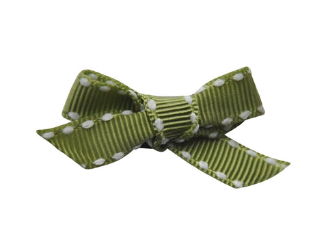 Hand Tied Bow - Mini Latch Olive Green Ribbon Stitched - Baby Wisp