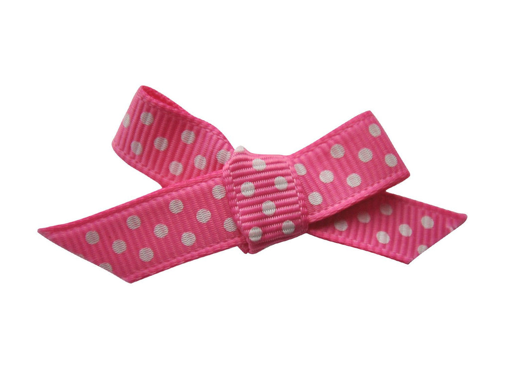 Hand Tied Bow - Mini Latch Hot Pink Polka Dot - Baby Wisp
