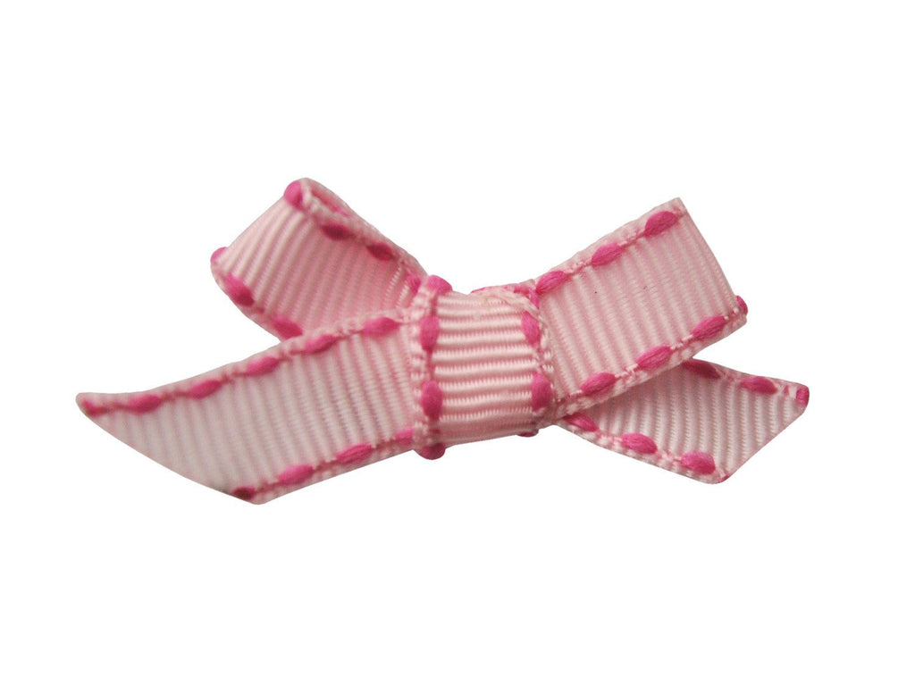 Hand Tied Bow - Mini Latch Pink Ribbon Stitched - Baby Wisp